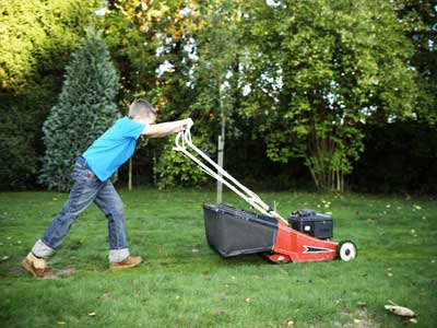 Image result for kid mowing lawn